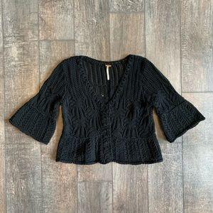 Free People Crochet Crop Bell Sleeve Cardigan